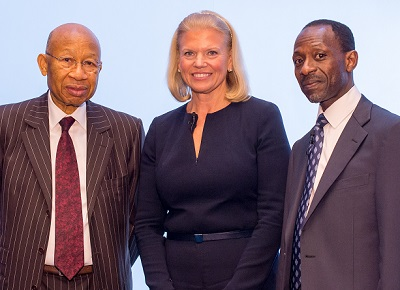 L- R - Dr. Pascal G. Dozie, Chairman, MTN Nigeria Limited; Ginni Rometty, IBM Chairman, President and CEO and IBM West Africa Country General Manager, Taiwo Otiti.*