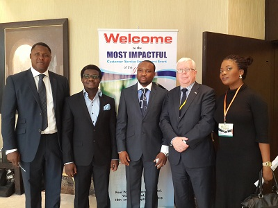(L-r): Dayo Adeyeye, head of Operations, Phasestream, Rolu Adebola, managing director and chief exectutive officer, CFS West Africa Limited, Olalunde Adedoyin, head of IT and Operations, Phasestream, Mike Purves, director, Trade and Investment and Rukayat Lawal, trade development manager, both of UK Trade and Investment, during CFS West Africa Limited and PhaseStream UK first edition of International Customer Experience Solutions Conference & Exhibition (ICES CONFEX 2013) held in Lagos