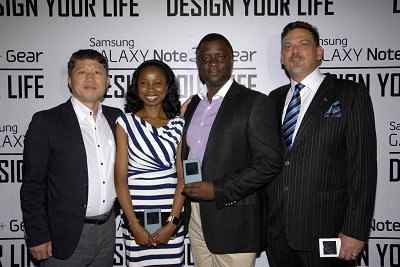 (L-r): Brovo Kim, managing director, Ms. Olajumoke Okikiolu, marketing manager, Hand Held Products, Olumide Ojo, head of Sales, Hand Held Products, and Emmanouil Revmatas, director, Hand Held Products, all of Samsung Electronics West Africa, at the launch of Samsung's Galaxy Note 3 and Gear in Lagos.