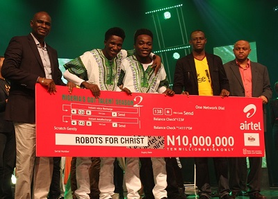 (L-r): Segun Ogunsanya, chief executive officer and managing director, Airtel Nigeria, Winners of Nigeria's Got Talent (NGT) season 2, Robots for Christ, Femi Adelusi, head of Marketing Communication, Malta Guinness, and Rotimi Pedro, group managing director, Optima Media Group (OMG), at the grand finale of the NGT 2 at the Dream Studios in Lagos at the weekend.