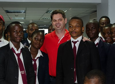 Guy Clarke, managing director Vodacom Business Nigeria (in red T-shirt) with students of FSTC Yaba on tour on Cloud Computing