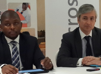 (L-r): Kabelo Makwane, in-coming country manager, Microsoft Nigeria and Jean-Philippe Courtois, president, Microsoft International, during a press conference on Microsoft's projects and investment drives in Africa.