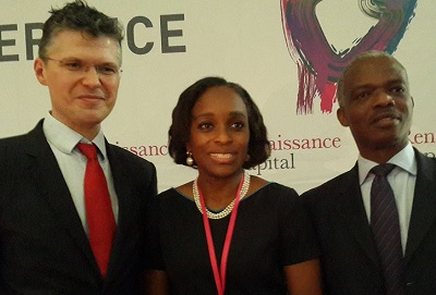 (L-r): Charles Robertson, global chief economist, Renaissance Capital, (Mrs) Omobola Johnson, minister of Communications Technology and Doyin Salami, member of Monetary Policy Committee, Central Bank of Nigeria (CBN), during the opening of 5th Annual Pan-Africa Investor Conference in Lagos, on Monday.