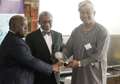 (L-r): Oluwaseyi Ogunlaru, senior manager, Tech. Services, Aiico Plc, Foluso Phillips, chairman and chief executive officer, Phillips Consulting and Jimi Agbaje, at the Web Jurist Award Version 11.0 held in Lagos on Thursday.