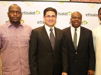 (L-r): Anthony Nebeolisa, Etisalat distribution partner (South-East), Matthew Willsher, acting chief executive officer, Etisalat Nigeria, and Ken Ogujiofor, director, Channel Sales, Etisalat Nigeria at the Etisalat Distribution Partners Conference held in Lagos, last week.