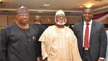 (L-r): Mr. John Momoh, founder & CEO, Channels TV, Gen. Abdulsalami Abubakar (retd.) former Head of State, with Mr. Segun Ogunsanya, managing director and chief executive officer, Airtel Nigeria, at the launch of The Cable, in Lagos, recently.