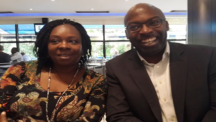 (L-r): Caroline Adeola, managing director, RSG Property Services and Obi Ejimofo, managing director, Lamudi Nigeria in a lighter mood at the launch of 'Nigeria's First Real Estate Mobile App' by Lamudi held in Lagos...recently.