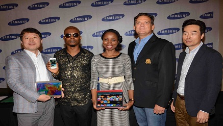 (L-r): Anish Mathew, product manager, Information Technology and Mobile, Brovo Kim, managing director, both of Samsung Electronics West Africa, Remilekun Abdulkalid Safaru, a.k.a. Reminisce, Samsung brand ambassador, Ms. Olajumoke Okikiolu, head of Product Marketing, Information Technology and Mobile, and Emmanouil Revmatas, director, Information Technology and Mobile, both of Samsung Electronics West Africa, at the launch of Samsung's Galaxy Tab S and new entry-level devices, Galaxy Ace 4 Lite and Galaxy