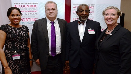 L-R: Ijeoma Anadozie, country manager, Chartered Institute of Management Accountants (CIMA), Andrew Harding, managing director, Chartered Institute of Management Accountants (CIMA), Folusho Philips, CIMA Fellow and executive chairman, Philips Consult Group, and Samantha Louis, Africa regional director, CIMA, at the institute's inaugural members' dinner in Lagos…recently.