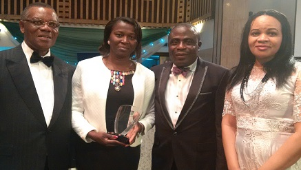 (L-r): Chief Don Etiebet, life fellow of NCS & CPN, Mrs. Funmi Lawal, marketing manager and Hassan Alao, managing director, both from Sidmach technologies Nigeria Limited and Mrs. Nike Etiebet, during presentation of special recognition Award to Sidmach at 2014 NITMA by NCS at the weekend.