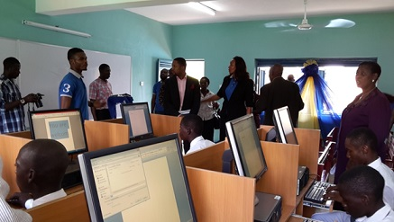 Guests and students at the official handover of a new ICT laboratory donated iConcepts Limited as part of its community social responsibility to Government Senior College, Victoria \Island, recently.