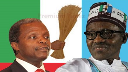 L-r: Prof. Yemi Osinbajo and Major-Gen. Muhammadu Buhari (rtd)....pic credit. Premuim Times