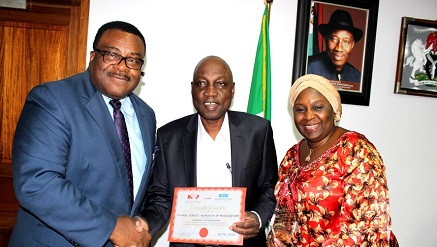 L-R: Capt. Henry Omeogu, director, Airport Operations, Engr. Saleh Dunoma, managing director, Federal Airports Authority of Nigeria (FAAN) & Hajia Salamatu B. Umar-Eluma, director, Human Resources during the NIPR Corporate Citizen Excellence award presentation to FAAN, recently