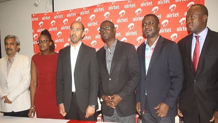 (L-r):  Shelley Chaudhary, managing Director, Seven Colours Digital Ltd, Zainab Baruwa-Abiola, head, HNI & High Value Acquisition Strategy, Airtel,  Nitin Anand, Vice President, Data & Innovation, Airtel,Olubunmi Ekundare, managing director, Intel, Francis Ebuehi, Vice President, Value Added Services, Airtel, Alex Dadson, MD, Blue Management Group,  at the media launch of Airtel's Catapult-a-Startup entrepreneurial initiative held on Wednesday in Lagos.
