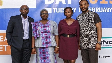 L-r): Sam Uche Anyamele, Nollywood Actor, Patricia Bala, director-general, National Film and Video Censors Board, Seember Nyager, chief executive officer, Homevida, Nollywood Actor, Blossom Chukwuyekwu at the commemoration of the 2015 Safer Internet Day organised by Google, NFVCB and Homevida.  ‎