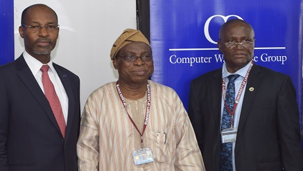 (L-R) Mr. Phillip Obioha, Chief Operating Officer, CWG Plc; Professor R.A Bello, Vice-Chancellor, University of Lagos and Professor Duro Oni, Deputy Vice-Chancellor (Management Services).