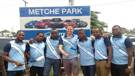 ‎Christian Keller, country managing director of ‎Carmudi.com‎ flanked by other staff during a canvass on United Berger Motors at the weekend.