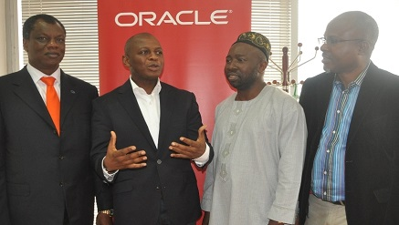 (L-R): Austin Okere, Founder and Group CEO, CWG Plc; Adebayo Sanni, Country Managing Director, Oracle; Abdulahmed O. Mustapha, DG, Lagos State Financial Systems Management Bureau and Toju Onaiwu, Director, Software, Edo State ICT Agency  during an official visit to Oracle in Lagos recently.
