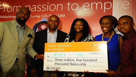 L-r) Audu Maikori, CEO, Chocolate City Group; Joseph Umunakwe, General Manager, Microsoft Mobile Devices and Services; Jessica Yahaya, Winner #MakeItHappen# Microsoft Lumia 535 Dual SIM 'Passion to Empire' activation campaign; Tara Fela-Durotoye, CEO, House of Tara; and Opeyemi Awoyemi, Co-founder Jobberman, at the Press Conference announcing the 5 winners of the campaign, which took place in Lagos.