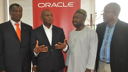 (L-r): Austin Okere, group chief executive officer, Computer Warehouse Group, Adebayo Sanni, country managing director, Oracle Nigeria, Abdulahmed Mustapha, director general, Lagos State Financial Systems Management Bureau and Toju Onaiwu, director, Software at Edo State ICT Agency, during a roundtable with the press in Lagos.