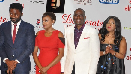 (L-r): Ozzy Agu, Michelle Dede, Desperate Housewives Africa actor and actress, Segun Ogunsanya, CEO Airtel Nigeria, Mo Abudu , CEO EbonyLife TV, at the premiere of Desperate Housewives Africa in Lagos.
