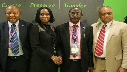 L-R: Computer System and Network Engineer, Covenant University (CU), Prof. Samuel John; Adviser, Ivory Banking, Heritage Banking Company Limited, Titilayo Babaoye; Chairman, Planning Committee, Prof. Olawale Daramola and Dean, College of Science and Technology, CU, Prof. Chinedu Shalom, during the Covenant University's International Conference on African Development Issues at the University's Campus in Ota, Ogun State on Wednesday
