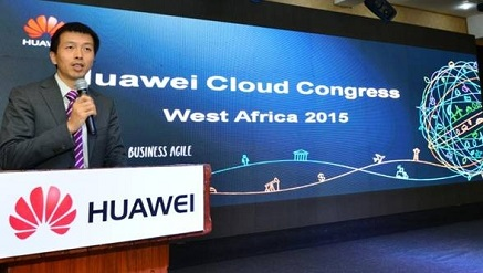 Peng Song, president of Huawei Western Africa Region, presenting the Company's Global Connectivity Index report during HCC Summit, West Africa 2015 held in Lagos recently.