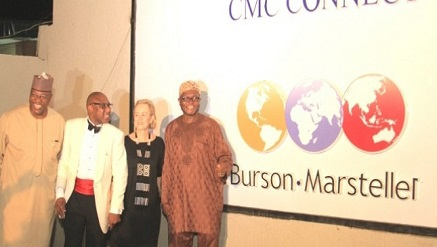(L-r): John Momoh, chairman, Channels Incorporated and Special Guest of Honor, Yomi Badejo-Okusanya, CEO of CMC Connect Burson-Marsteller, Nigeria, Mrs. Robyn de Villiers, chairman/CEO Burson-Marsteller, Africa, and Akin Opeodu, board chairman, CMC Connect Limited, at the unveiling of the new brand identity of CMC Connect Burson-Marsteller, at the Bridge House, corporate headquarters of CMC Connect in GRA, Ikeja, Lagos recently.