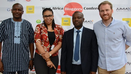 (L-r): Sola Badmus, director of Protocols, West Africa Bloggers Conference, Mrs Alero Ladipo, chief marketing officer, Smile Communications Limited, Ayo Oyebade, MD, Advert Striker Limited and  Jonathan Doer, MD, Jumia Nigeria at the West Africa Bloggers Conference held in Lagos recently.
