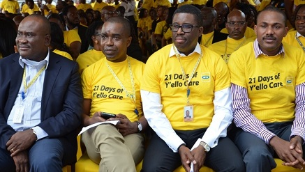 (L-r): Michael Ikpoki, CEO, Akinwale Goodluck, corporate services executive, Tsola Barrow, sales and distribution executive and  Olubayo Adekanmbi, chief marketing officer all of MTN Nigeria at the opening ceremony of 21 Days of Y'ello Care, 2015 Edition tagged, 'Investing in Education for All' at MTN head office, Falomo, Ikoyi on Monday.
