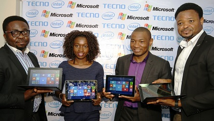 (L-r):  Womiloju Olabanji, consumer business lead Sub-Saharan Africa, Intel Corporation, Yewande Oyebo, device specialist Microsoft Nigeria, Mark Ihimonya, consumer director, Microsoft Nigeria and, Attai Oguche, activation and event manager, Tecno Mobile at the official launch of the new Tecno WinPad 10 on Thursday, in Lagos.