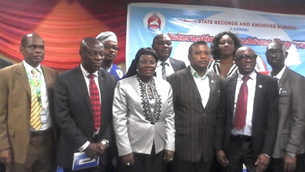 (L-): Prof. Ayodeji Olukoju, vice-chancellor, Caleb University, Lagos State, Barr. Chris Nkwocha, zonal Director, Nigeria Copyright Commission, Lagos Operational Office, Mrs. Oluranti Odutola, Permanent Secretary, Ministry of Information and Strategy, Lagos, Dr. Oyedokun O. Oyewole, President, RIMa Foundation/ Chairman, Board of Trustees, Institute of Information Management-Africa, Biodun Onayele, DG, LASRB and Lateef  Raji, Immediate Past Special Adviser on Information and Strategy to the Lagos State Gover