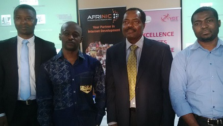(L-r): Ajibola Olude, executive secretary of ATCON, Mukon Tamon, training manager of AFRINIC, Lanre Ajayi, president of ATCON and Brice Abba of AFRINIC, during a workshop organized by ATCON for Network Engineers in Lagos, recently.