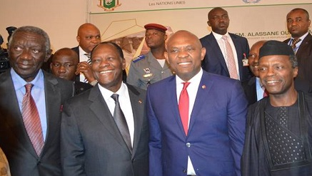 1: L-R:  Former president of Ghana John Kufuor; President of Cote D'Ivoire Alassane Ouattara, Co-Chair of the Africa Energy Leaders Group (AELG); Tony O. Elumelu, Chairman of Heirs Holdings and Co-Chair of the AELG; Vice President of Nigeria Yemi Osinbajo during the inaugural meeting of the AELG held in Abidjan yesterday to discuss regional solutions to the electricity deficit in Africa
