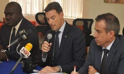 (L-r): Ibi Ikpoki, economic officer, EU Delegate; Filippo Amato, trade counselor and head of Trade and Economic section, EU Delegate to Nigeria & ECOWAS; Juan Juse Otamendi, economic and commercial counselor, Embassy of Spain at the EU Nigeria Business Forum pre-event press briefing in Lagos.
