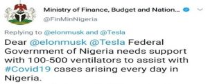 FG Regrets Begging Musk, U.S. Billionaire for Ventilators