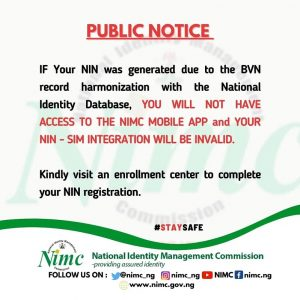 NIMC Says BVN-Generated NIN Can't be Used for SIM Integration